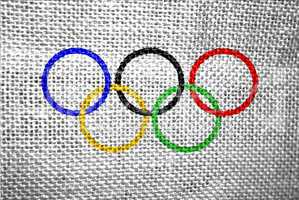 olympic rings textured flag