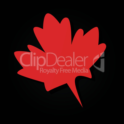 Red maple leaf on black abstract background. Vector illustration