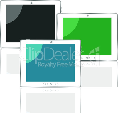 different colored vertical tablet pc set with screen