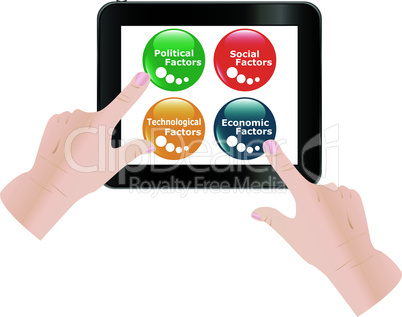 Man finger touching digital tablet screen with four business factors. Vector illustration