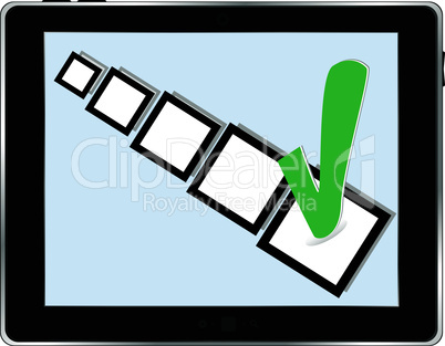 Black abstract tablet pc on white background with abstract check box