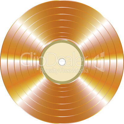 gold vector vinyl record isolated on white background