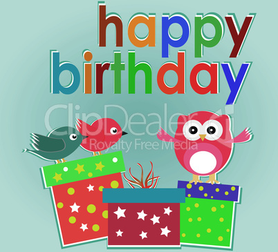 Vector birthday party card with cute owl, birds and gift boxes - happy holiday