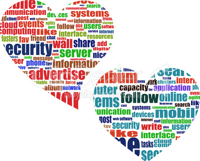 word tag heart cloud set wirh media marketing concept words