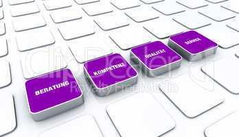 Quader Konzept Violett - Beratung Kompetenz Qualität Service 7