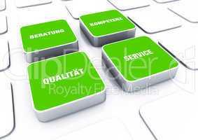 Quader Konzept Grün - Beratung Kompetenz Qualität Service 5
