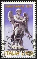 Postage stamp Italy 1975 Angel holding Crown of of Thorns