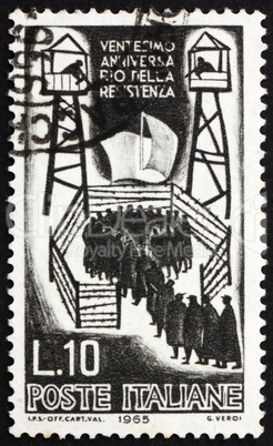 Postage stamp Italy 1965 Italian Soldiers in Concentration Camp