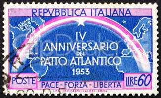 Postage stamp Italy 1953 Continents Joined by Rainbow