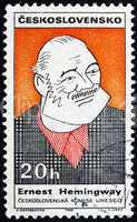 Postage stamp Czechoslovakia 1968 Caricature of Ernest Hemingway
