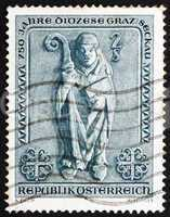 Postage stamp Austria 1968 Bishop, Romanesque Bas relief