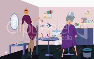 Beauty salon  worker with brush  and client under blow dryer stand up