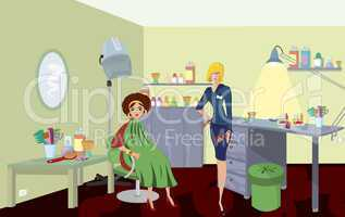 Beauty salon professional with comb  and a client in green robe