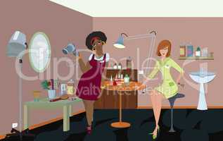 Beauty salon professionals are waiting for a client