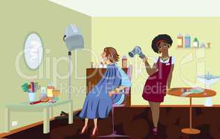 Beauty salon professional is blow drying clients hair after dyin