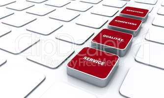 Quader Konzept Rot - Beratung Kompetenz Qualität Service 9