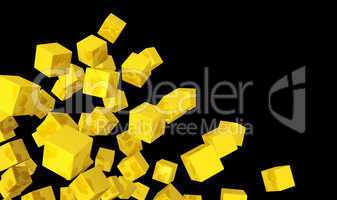 Banner - Fliegende Würfel Gold gelb auf Schwarz 2