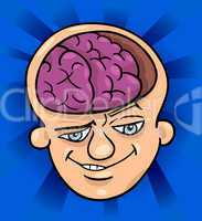 brainy man cartoon illustration