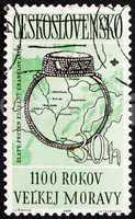 Postage stamp Czechoslovakia 1963 9th Century Ring, Moravia