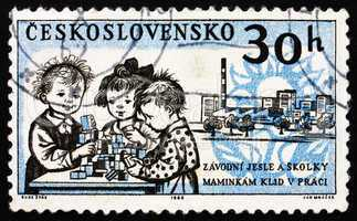 Postage stamp Czechoslovakia 1962 Children in Day Nursery and Fa