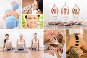 Healthy Lifestyle Montage Beautiful Women at Spa