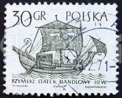 Postage stamp Poland 1963 3rd Century Merchantman, Ancient Ship