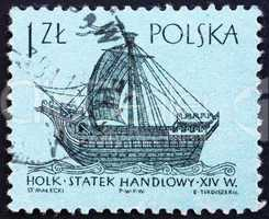 Postage stamp Poland 1963 14th Century  'Holk', Ancient Ship