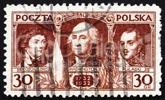 Postage stamp Poland 1932 Kosciuszko, Washington, Pulaski