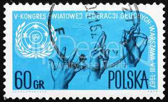 Postage stamp Poland 1967 Sign Language and Emblem