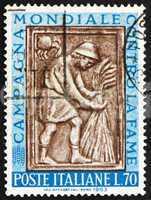 Postage stamp Italy 1963 Harvester Tying Sheaf, Sculpture