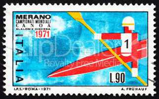 Postage stamp Italy 1971 Kayak in free Descent