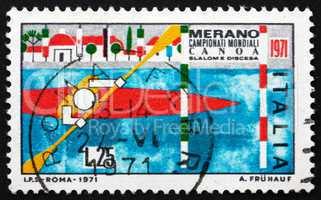 Postage stamp Italy 1971 Kayak Passing Between Poles
