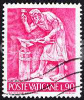 Postage stamp Vatican 1966 Blacksmith, Bas-relief by Mario Rudel
