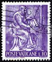 Postage stamp Vatican 1966 Organist, Bas-relief by Mario Rudelli