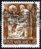 Postage stamp Vatican 1966 Cartographer, Bas-relief by Mario Rud