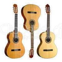Drei Konzertgitarren im Set auf weiß