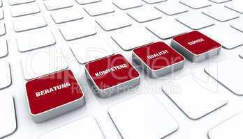 Quader Konzept Rot - Beratung Kompetenz Qualität Service 6