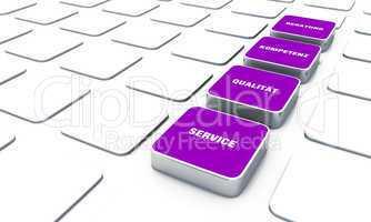 Quader Konzept Violett - Beratung Kompetenz Qualität Service 12