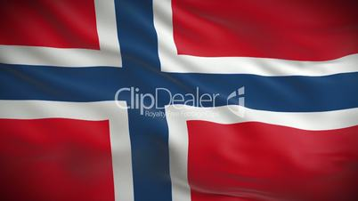 Highly detailed Norwegian flag ripples in the wind. Looped 3d animation for continuous playback.