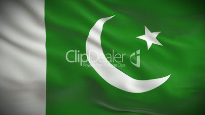 Highly detailed Pakistani flag ripples in the wind. Looped 3d animation for continuous playback.