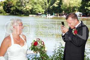 His bride, groom, photograph