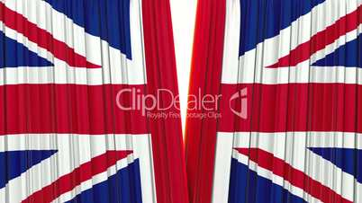 United Kingdom flag curtain, Opening and closing 3d animation, HD, mask. Highly detailed 3d animation of British flag curtain opening and closing