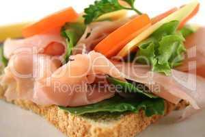 Open Ham And Salad Sandwich