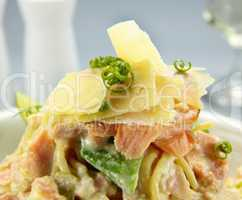 Parmesan Cheese On Salmon Pasta
