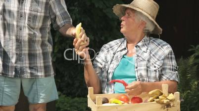 senior farmers with fresh vegetables