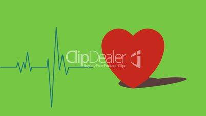 Pochendes Herz mit EKG