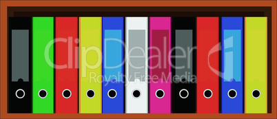 Book shelf with folders