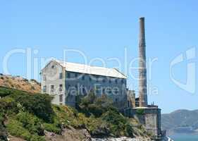 Ruins Of Alcatraz Smoke Stack And Power House