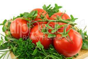 Tomatoes On A Bed Of Herbs
