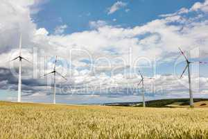 Wheatfield with windmills